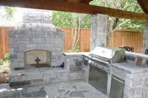 Permanent Outdoor Fireplace with Kitchen