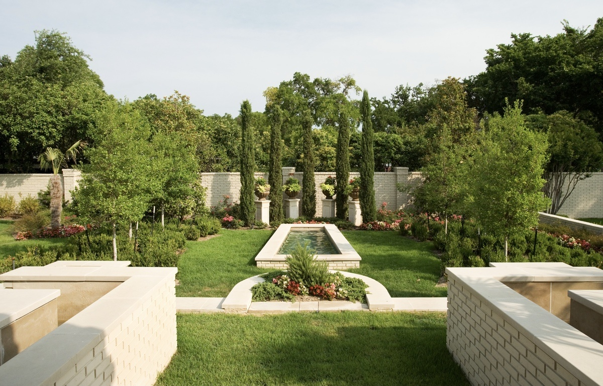 backyard formal garden landscaped by lawn connections